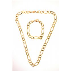 NECKLACE & BRACELET:  [1] 10ky figaro chain necklace (24 in.),  [1] 10ky figaro chain bracelet (8 in