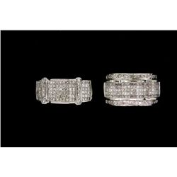 RING:  [1] 14k WG ring set with 32 rbc & 115 princess cut diamonds, TWA 2.50 cts, H-J, VS2-SI2, size