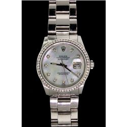 WATCH:  [1] Stainless steel gents Rolex Oyster Perpetual Datejust watch with an aftermarket mother-o