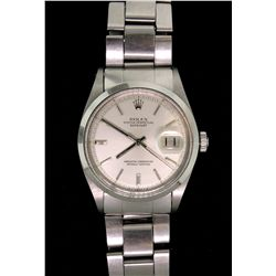 WATCH:  [1] Stainless steel gents Rolex Oyster Perpetual Datejust watch with a smooth polished bezel
