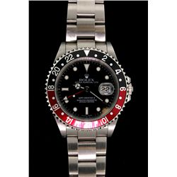 WATCH:  [1] Stainless steel gents Rolex GMT MASTER II watch with black dial, date and oyster bracele