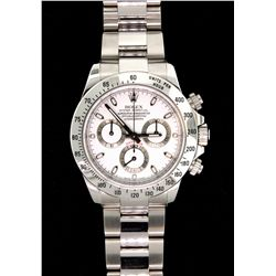 WATCH: (1) Rolex Cosmograph Daytona stainless steel with white dial. Model: 116520. Oyster bracelet