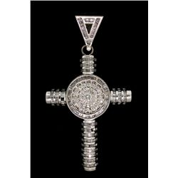 PENDANT:  [1] 10k WG cross pendant set with rd and baguette cut diamonds, TWA 11.0 cts., H-J, SI1-I1