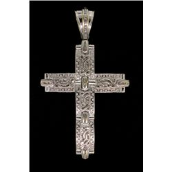 PENDANT:  [1]14k WG cross pendant set with baguette diamonds, TWA 2.60 cts, I-K, I1-I3; 57.2 grams