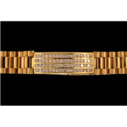 BRACELET:  [1] 18ky bracelet with a center bar set with 68 rd diamonds, TWA 4.08 cts, G-I, SI1-SI2;