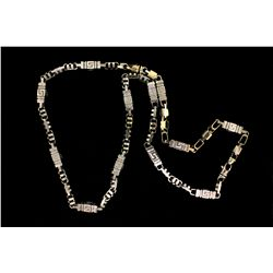 "CHAIN:  [1] 10k WG fancy link chain; 33""s; 174.5 grams  (This is a 9"" bracelet attached by a clasp t"