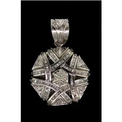 PENDANT:  [1]14k WG medallion pendant set with 210 baguette and 18 rd diamonds, TWA 3.5 cts, I-K, SI