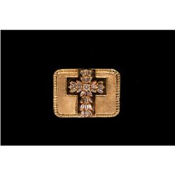 RING:  (1) 10ky cross ring set with 30 baguette diamonds, TWA 0.70 cts, I-K, VS1-SI1; size 8; 27.3 g