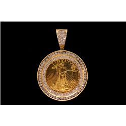 PENDANT:  [1] 14ky pendant set with a 1 oz. gold American Eagle coin and 108 rd diamonds, TWA 4.5 ct