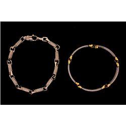 """BRACELET:  [1] 10k WG fancy link style bracelet; 9""""s; 24.5 gramsBRACELET:  [1] 18ky and stainless st"""