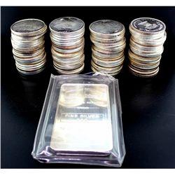 BULLION: (80) 1 oz. silver rounds; .999 silver, 2503 gramsBULLION: (1) 10 oz. silver ingot, NTR Meta