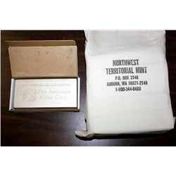 BULLION: (60) Pan American 100 ounce silver bars; .999 fine silver; each 150mm x 76mm x 26.9mm; each