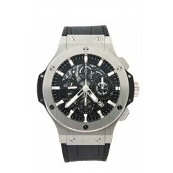 WATCH: (1) Men's st.steel Hublot Big Bang Aero Bang chronograph wristwatch; 45.4mmOD case; black par