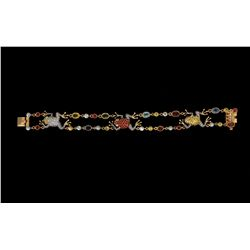 "BRACELET: (1) Diamond and multi-colored gemstone 18k YG bracelet 7 1/2"" long with (3) frogs through"