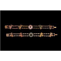 BRACELETS: (2) 18ky diamond and multi-gemstone bracelets 7 1/2  long with (4) goldfish across the ce
