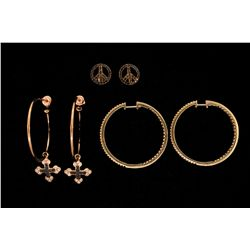 """EARRINGS: (1) Pair diamond and 14ky hoops 1.5"""" diameter with (102) rbc diamonds in each, I1 clarity"""