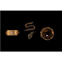 RING: (1) 14ky center citrine 18mm round. Approx. 22.00cttw. Bead set with (34) rbc diamonds SI2-I1