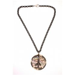 """PENDANT & NECKLACE: (1) Peace sign pendant, 2 1/8"""" diameter with mother of pearl center, 14k WG fram"""