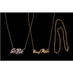 "CHAIN: (1) Diamond and 14k WG with ""Good Ride"" in cursive at the center 2"" x 1/2"" set with (62) rbc"