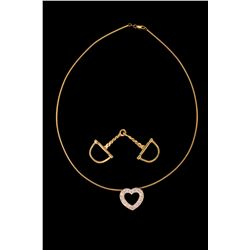 """PENDANT & NECKLACE: (1) Diamond and 14ky heart slide pendant and neck wire. Pendant is 3/4"""" long wit"""