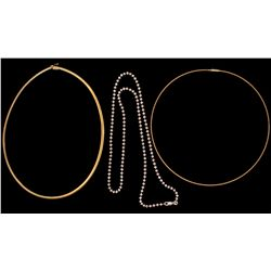 "NECKLACE: (1) 14ky neck wire 16"" long . 1.2mm wide. 4.4gCHAIN: (1) 14ky omega neck chain 16"" long 4m"