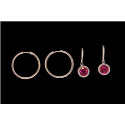 EARRINGS:  (1) Pair 18k WG diamond hoops, inside and outside design, pave; set with (226) rbc diamon