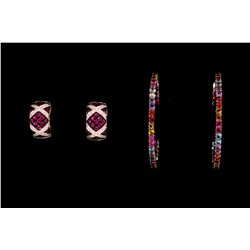 EARRINGS: (1) Pair Ruby and diamond 18k WG hoops, hinged, 19.5mm, pave; set with (42) round rubies,