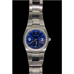 WATCH: (1) Ladies VictorinoxSwiss Army wristwatch, blue dial, (40) diamond dial. Date at 6 o'clock,