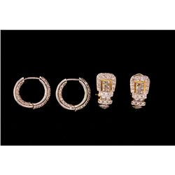 EARRINGS: (1) Pair diamond and 18kyand WG buckle motif earrings set with (38) rbc diamonds (20) prin