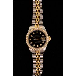 WATCH: (1) ROLEX two tone bracelet watch with a black dial with 10 diamonds.  Thirty-nine (39) full