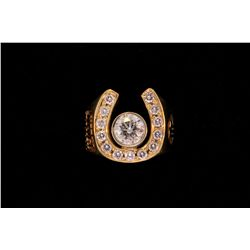 RING: (1) Men's 14ky horseshoe motif diamond ring; 1 (ctr) bezel set round brilliant diamond, approx