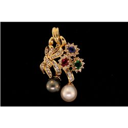 "PENDANT: (1) 18ky diamond, pearl and multi-colored gemstone pendant 1.75"" x 1"" bow and flower motif,"