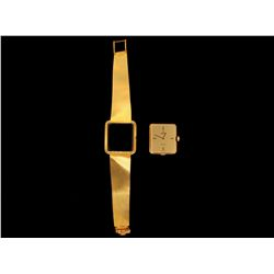 WATCH: (1) Gents 18ky (stamped) Omega De Ville wristwatch; rectangular case 7mm x 25mm with champagn