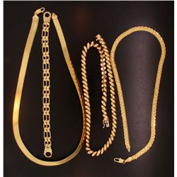 "CHAIN NECKLACE: (1) 14ky (stamped) herringbone chain 18"" long 8mm wide. 20.5g. CHAIN NECKLACE: (1) 1"