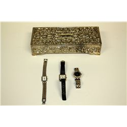 WATCH: (1) Ladies stainless steel and gold plated Cyma wristwatch; 24mm case, black diamond dial wit