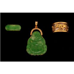 "PENDANT:  (1) Jadeite jade, diamond and 14ky Buddha pendant, 1.75"" x 1"" with mottled green jade Budd"
