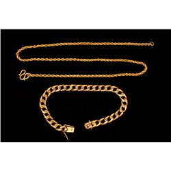 "CHAIN: (1) 18ky chain necklace 18"" long x 28mm wide with ""S"" style link. 23.4g CHAIN BRACELET: (1) G"