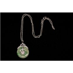 NECKLACE: (1) Jadeite jade and 14k WG (tested) pendant and platinum (tested) chain. Pendant has 27mm