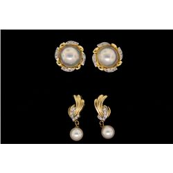 EARRINGS: (1) Pair 14ky (stamped) Mabe; pearl and diamond earrings. Center Mabe; pearl 12mm. Frame s