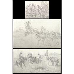 Charlie Dye, three pencil drawings