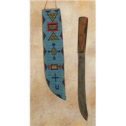 Large Blackfeet Beaded Knife Sheath