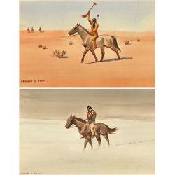 Leonard Reedy, two watercolors