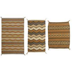 "Three Navajo Weavings, 4'10"" x 3', 4'4"" x 2'4"" and 3'2"" x 2'7"""
