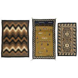 Three Navajo Weavings, 4'5  x 3'3 , 4'8  x 2'8  and 3'10  x 2'3