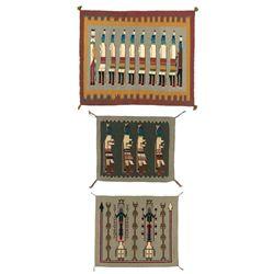 Three Yei and Yeibichai Weavings