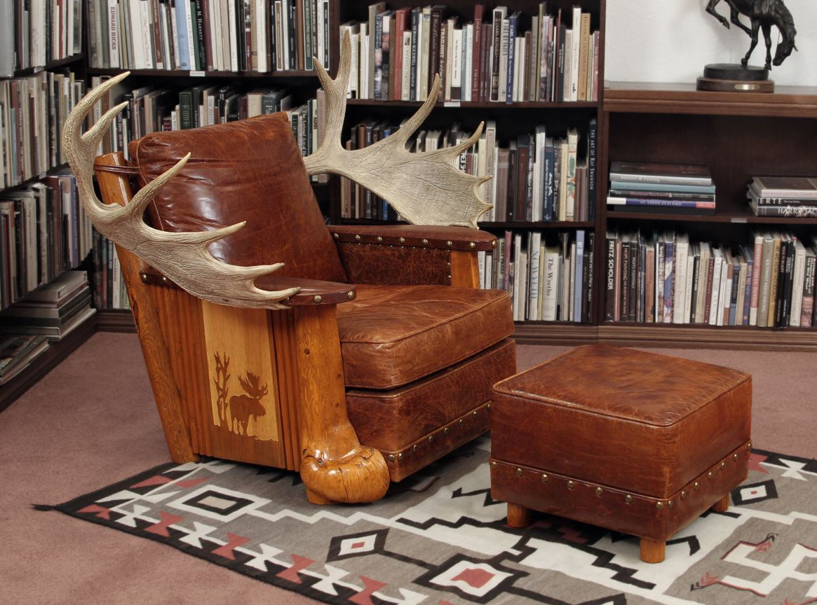Super Sweet Water Ranch Moose Antler Chair With Ottoman Beatyapartments Chair Design Images Beatyapartmentscom