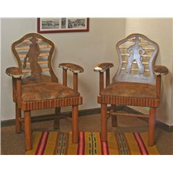 Two Sweet Water Ranch Keyhole Chairs, Thomas Molesworth