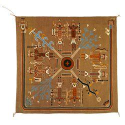 """Navajo Sand Painting Weaving, 5' x 4'9"""", Estelle Yazzie"""