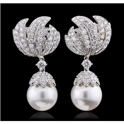 18KT White Gold 6.90ctw Diamond and Pearl Earrings