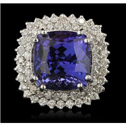 14KT White Gold 16.30ct GIA Cert Tanzanite and Diamond Ring